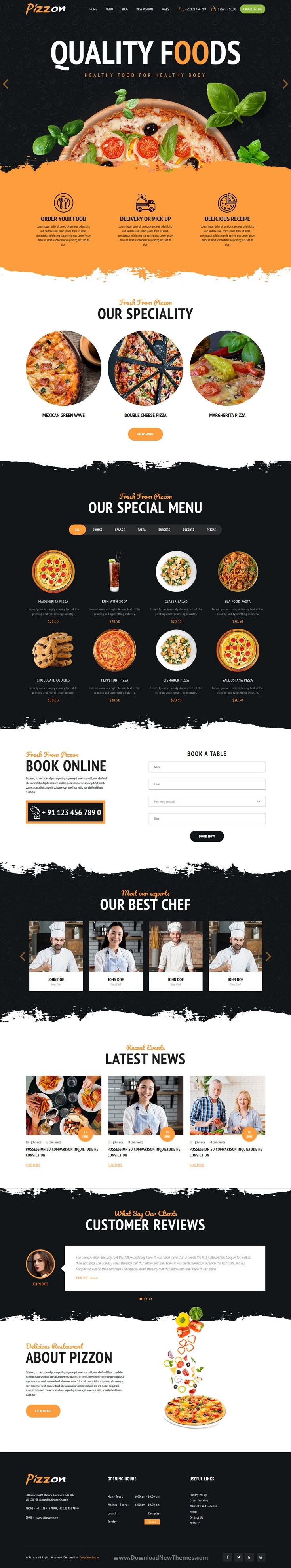 Pizza Restaurant HTML Template