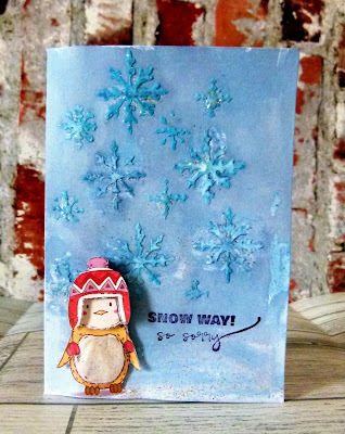 close up of cute penguin in a red hat card