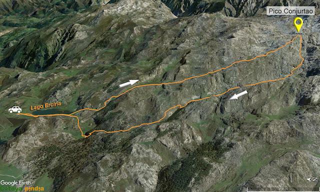 Map 3D de la ruta al Pico Conjurtao desde el Lago Ercina en los Picos de Europa