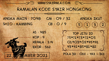 Ramalan HK Rabu 22 September 2021