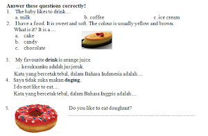 Contoh Soal UH 5 Bahasa Inggris Kelas 2 SD MI Tema Food and drink Semester 2