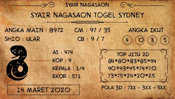 Prediksi Togel JP Sidney Sabtu 14 Maret 2020 - Nagasaon Sidney