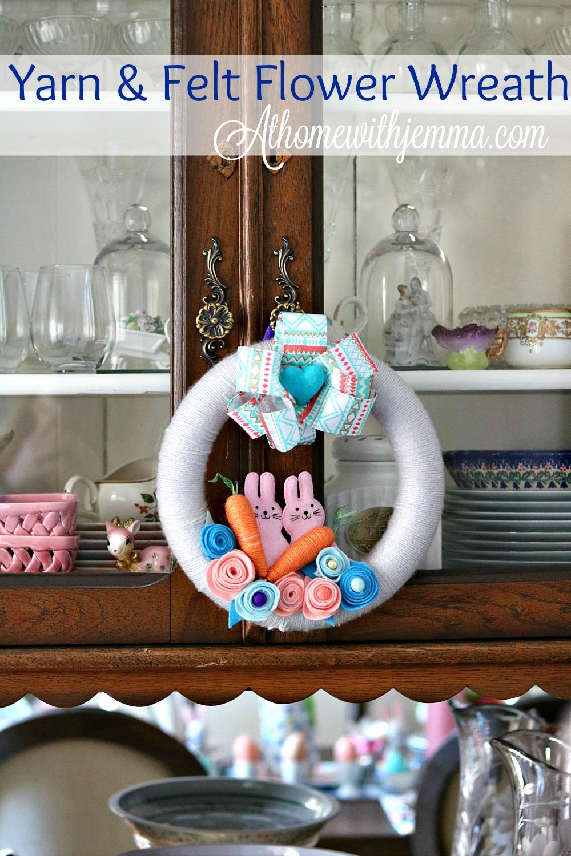 yarn, felt, wreath, holiday, Easter, Spring, pastel, easy, diy, craft, athomewithjemma.com