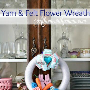 Handmade Yarn and Felt Flower Wreath