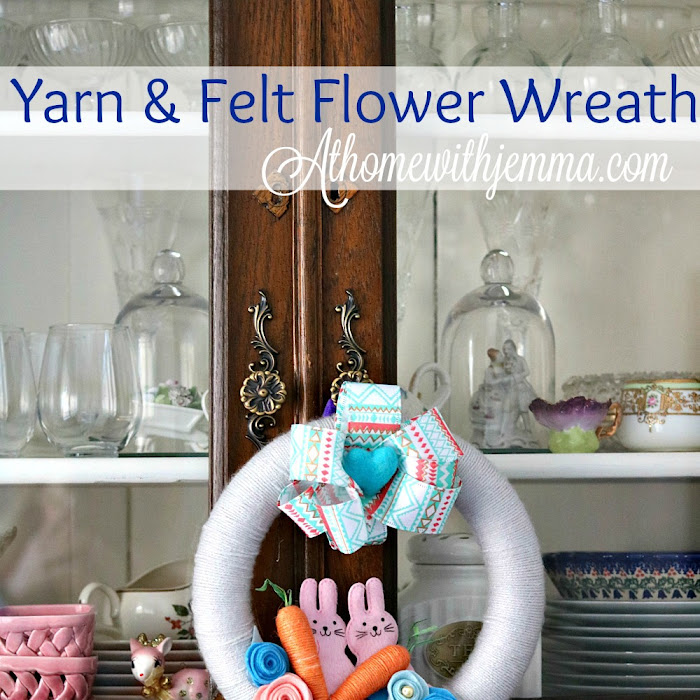 Handmade Yarn and Felt Flower Wreath