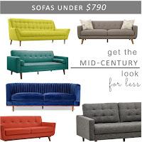 Mid Century Sofas under $790