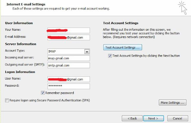 Cara Terbaru Memasang Email Gmail Pada Email Client Microsoft OutLook Dengan IMAP