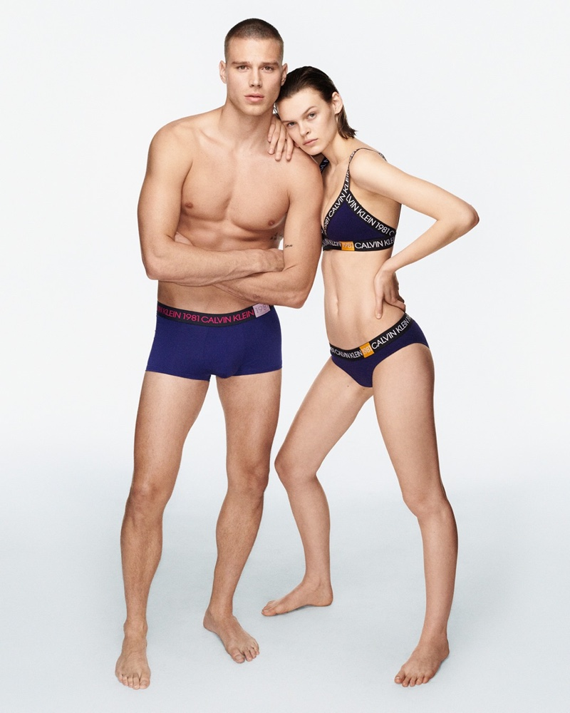 Matthew Noszka and Cara Taylor front Calvin Klein Underwear fall-winter 2019 campaign