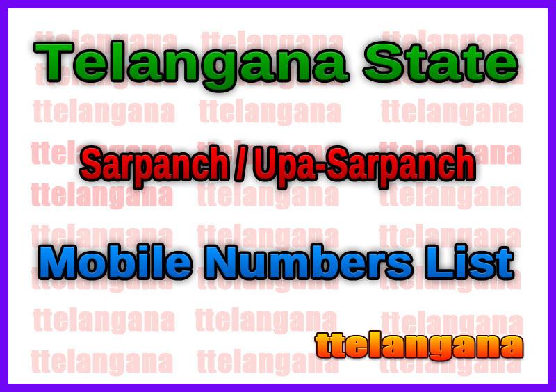 Telangana State Sarpanch / Upa-Sarpanch Mobile Numbers List