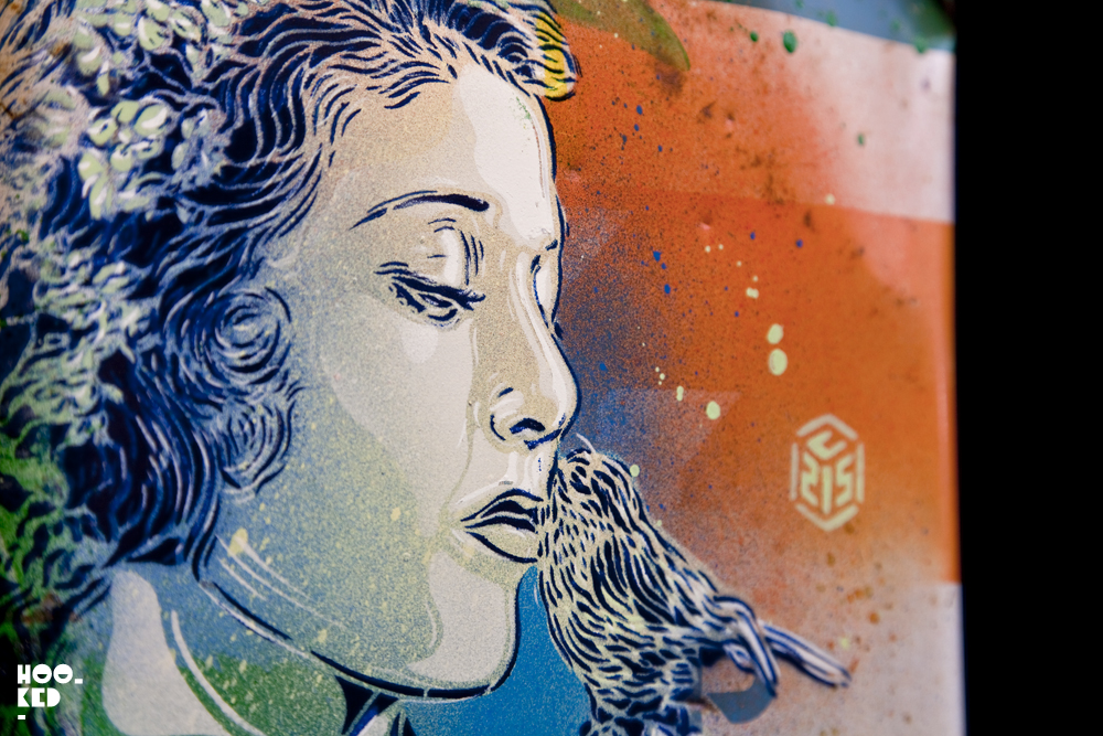 C215 - UK Street Art Exhibition Back to Black at Stolen Space Gallery close up detail