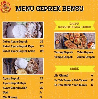 Menu dan Harga Geprek Bensu Lampung
