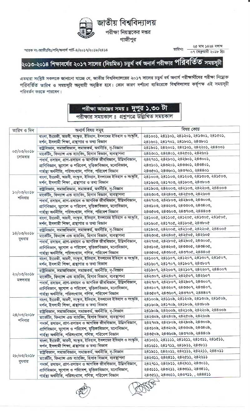 NU Honours 4th Year Routine 2018 [Session 2013-14]