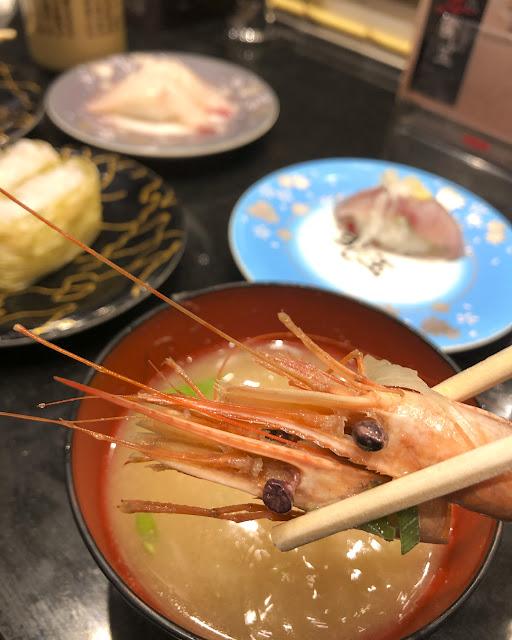 回転寿司 オマケの味噌汁は甘エビだらけ