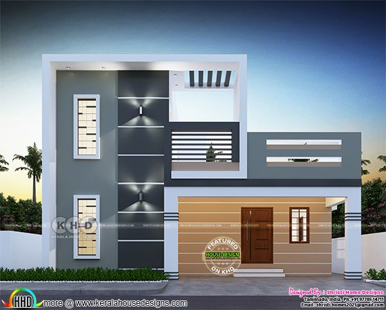Modern home front view design by Shristi Home Designs from Coimbatore, Tamilnadu