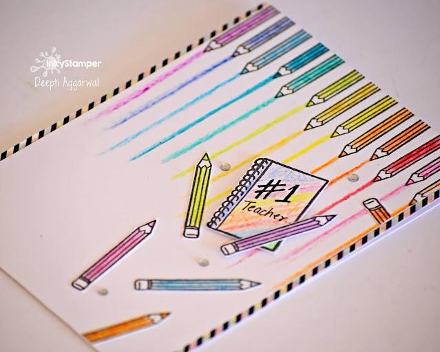 Teacher's day card using Crayons