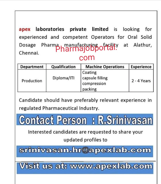 Job Opening at Apex lab for Production apply now