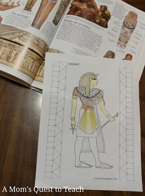 book on Ancient Egypt; coloring page of Egyptian