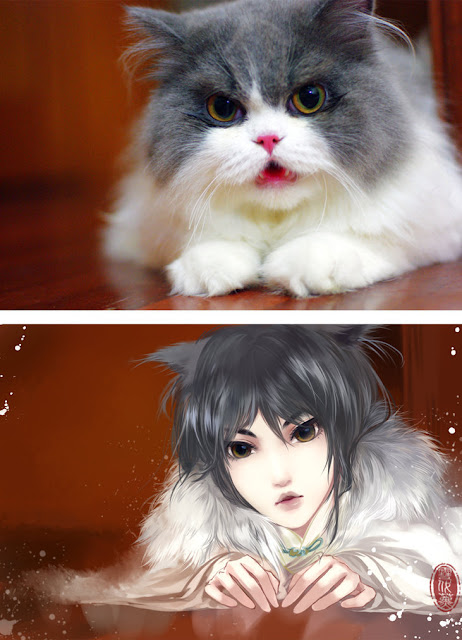 Kot narysowany jako kobieta z anime 02