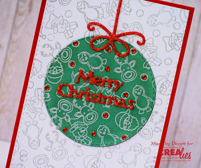 Christmas Bauble heat embossed card