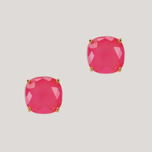 Kate Spade 14 karat gold clear crystal square studs