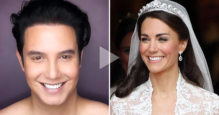 Paolo Ballesteros transforms into Kate Middleton, the Duchess of Cambridge