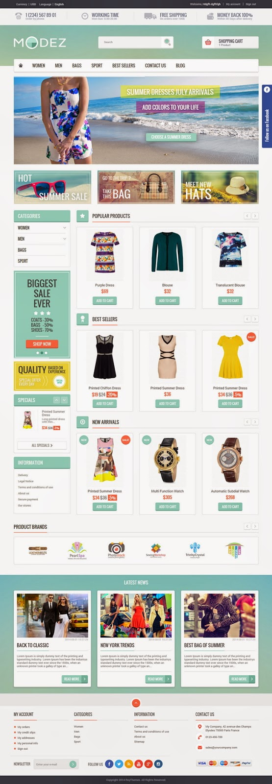 Premium Responsive Prestashop Theme and Blog