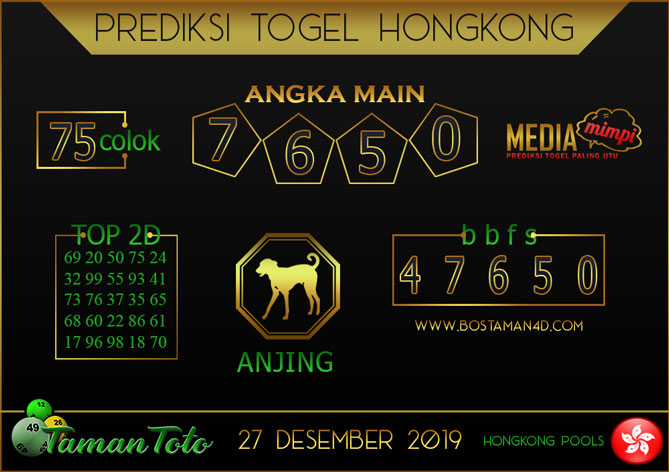 Prediksi Togel HONGKONG TAMAN TOTO 27 DESEMBER 2019