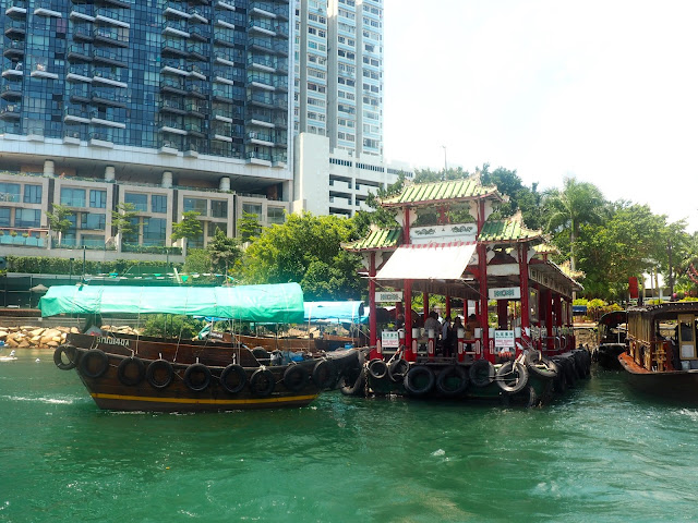 Sampan at the Jumbo Kingdom ferry pier at Sham Wan, near Aberdeen, Hong Kong