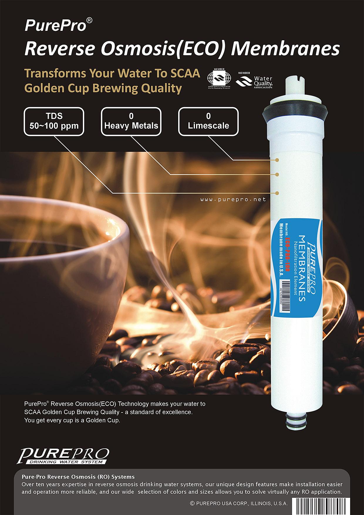 美國PurePro®神級礦泉膜 (ECO RO膜) ECO-PRO-100 ★具有礦物保護技術的滲透膜元件