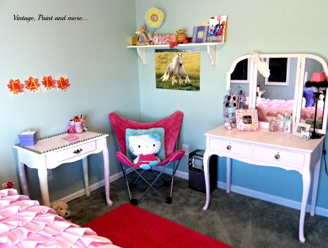 Vintage, Paint and more... girls room done with thrifted and painted furniture and recycled crafted decor items