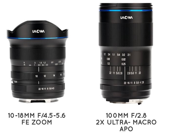 Объективы Laowa 10-18mm f/4.5-5.6 FE Zoom и Laowa 100mm f/2.8 2X Ultra Macro APO