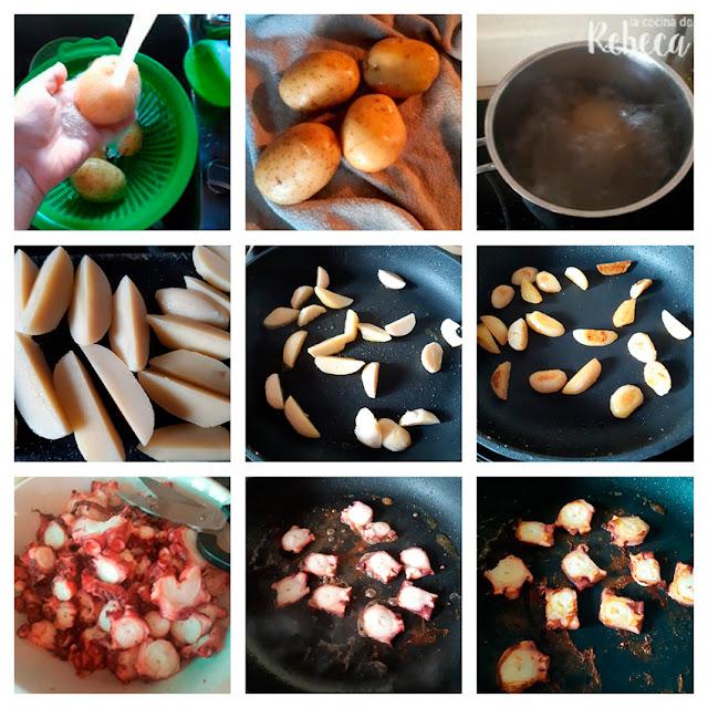 Receta de ensalada de patata y pulpo con romesco: preparación de la patata y el pulpo