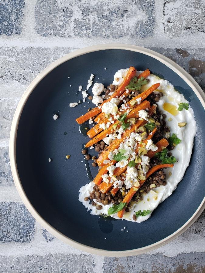Roasted Carrots & Lentil Bowl With Feta, Pistachios & Cilantro