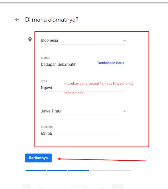 Masukan Alamat Google Bisnis