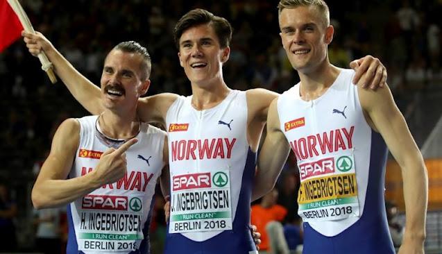 Irmãos Ingebrigtsen no Campeonato Europeu de atletismo em Berlim 2018
