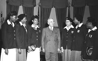 President Truman & African American Female Olympians  (l-r) Emma Reed, Theresa Manuel, Audrey Patterson,  Nell Jackson, Alice Coachman and Mabel Walker