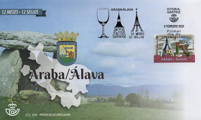 12 meses, 12 sellos, 12 provincias, matasellos, sello, sobre, filatelia,  Alava