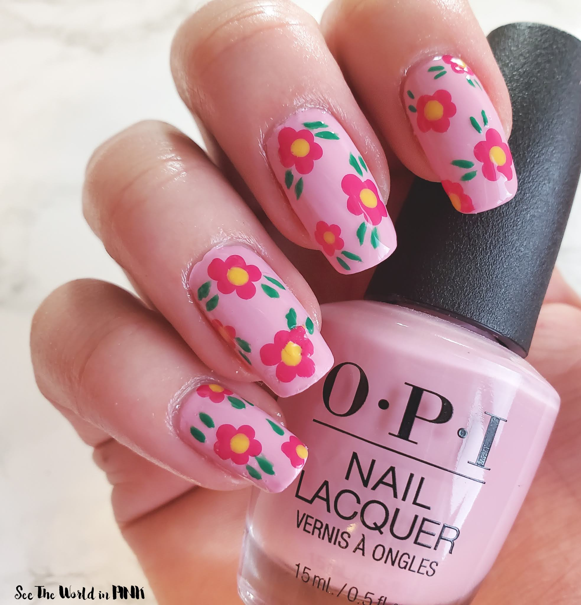 Manicure Monday - Pink Spring Dotted Floral Nail Art