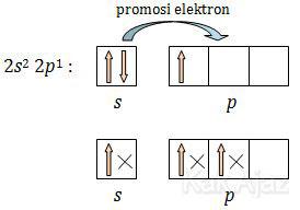 Promosi atau eksitasi elektron agar dapat menangkap elektron lebih banyak
