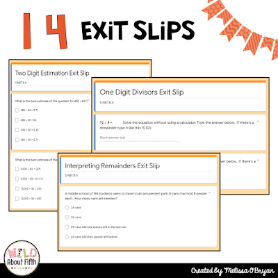 distance learning math exit tickets