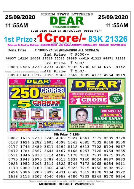 Lottery Sambad Result 25.09.2020 Dear Treasure Morning 11:55 am