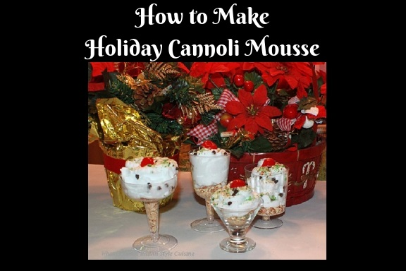 this is how to make a delicious cannoli filling into a mousse dessert. The mousse is layered with crushed cannoli shells topped with cannoli mousse and garnished with mini chocolate chips, crushed pistachios and a cherry on top for a festive christmas no bake dessert.