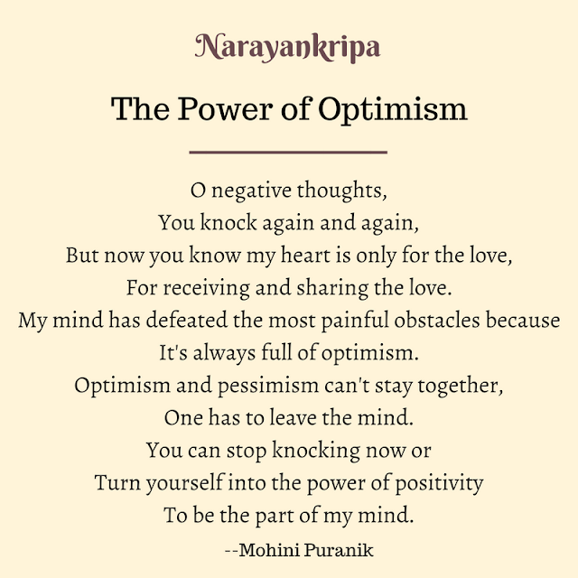 Text image for Narayankripa poem The Power of Optimism