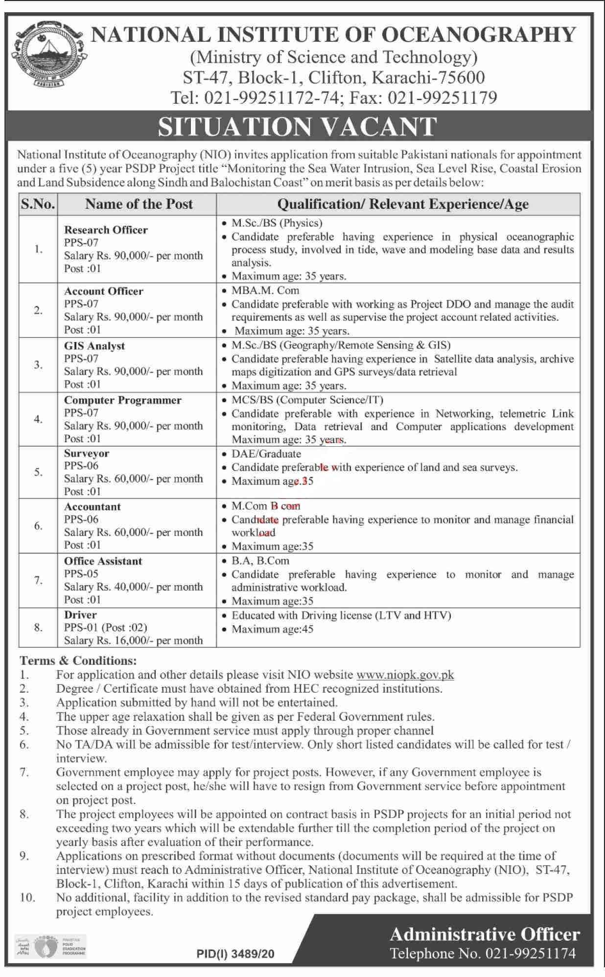 National Institute of Oceanography NIO Karachi Jobs 2021 for Research Officer, Account Officer, GIS Analyst, Computer Programmer, Surveyor, Accountant, Office Assistant and more