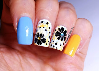 Black, Blue and Orange Flower Nail Art