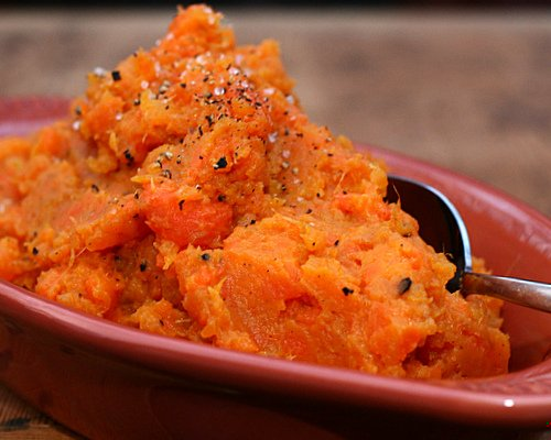 Rustic Mashed Sweet Potatoes & Carrots ♥ KitchenParade.com, an unexpectedly magical marriage of two everyday vegetables.