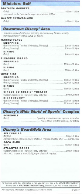 Walt Disney World Resort Times Guide November 2008 Back