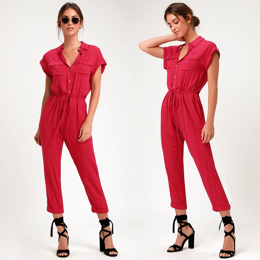 http://www.pntrs.com/t/S0BMQ0VDQERMR0VDTEBLSUdESg?url=https%3A%2F%2Fwww.lulus.com%2Fproducts%2Fshela-magenta-button-up-drawstring-jumpsuit%2F747102.html