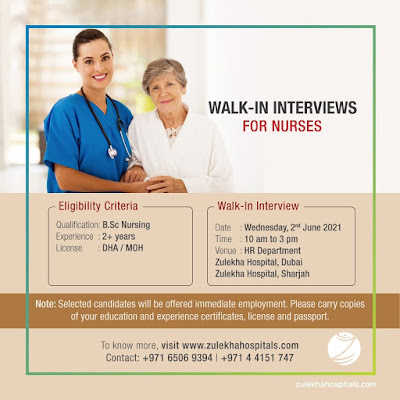 Staff Nurse Vacancies in Zulekha Hospitals Dubai & Sharjah