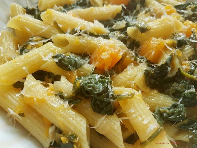 Pasta con espinacas y calabaza #lunessincarne